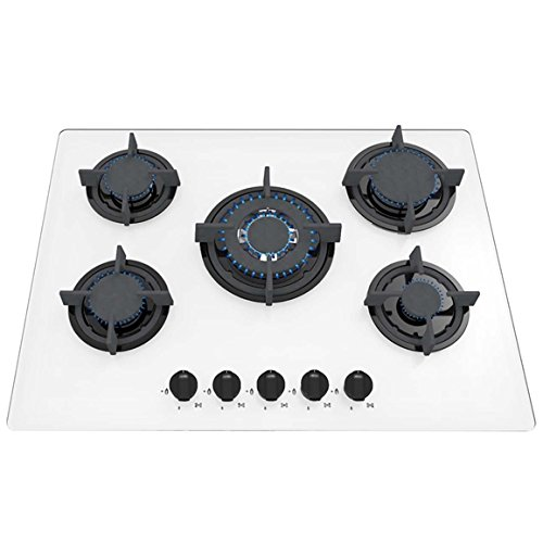 SIA GHG703WH 70cm 5 Burner White Gas On Glass Hob With Wok Burner/FFD & LPG Kit