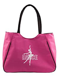 Kids Girls Bag for Competition Dance Ballet Gym, Garment and Shoes Bag with Embroidery of Dancing Girl (Pink)
