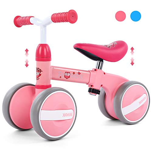 Peradix Baby Balance Bikes Adjustable Bicycle 10-36 Months Toddlers| Riding Toys for 1 Year Old Children Boys Girls | No Pedal Silent Wheels Infant Toddler Bicycle | Best First Birthday Gift (Pink)