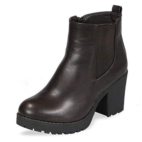 (Women's Block Chunky Heel Ankle Booties Slip on Platform Boots Zipper up High Heel Chelsea Boots Brown 9)