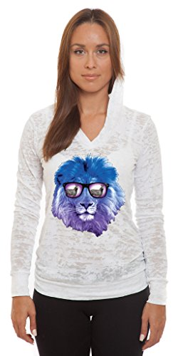 YM Wear Women's Lion Galaxy Logo Glasses with Zebra Casual Hispter Burnout Hoodie Small - Glasses Hispter