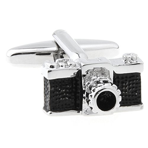 (Camera Black & Silver Enamel Copper Shutterbug Cufflinks for Mens)