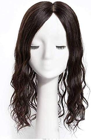 ZTBXQ Beauty Körperpflege Perücke Echthaar Krone Silber Topper Haarteile für Frauen5,5 'x 5,5' Handgebundene lockige Haarteile für weibliche Kahlheit Muster8 'Natural