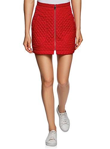 oodji Ultra Femme Jupe en Tissu Textur avec Zip Avant Rouge (4501n)