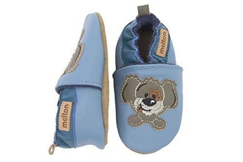 Melton Leder-krabbelschuhe Hund - Zapatillas de casa Bebé-Niñas Azul - Blau (Brill Blue236)
