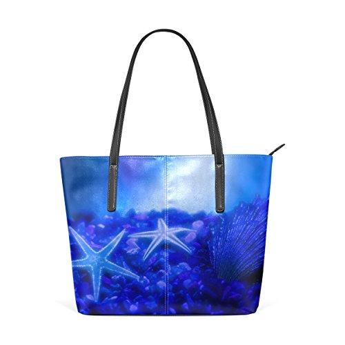3623cad904ab COOSUN Wunder des Meeres Blau Seestern und Muscheln PU Leder Schultertasche  Handtasche und Handtaschen Tasche für