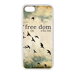 iPhone 5 5S Protective Case - Freedom in Christ, Be Free Pattern iPhone 5 5S TPU(Laser Technology) Case Cover