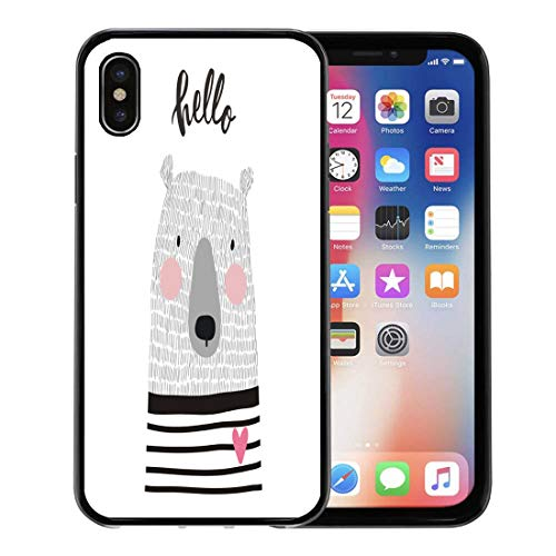 Semtomn Phone Case for Apple iPhone Xs case,Animal Cute Hand Drawn Bear Sketch Baby Graphic Girl Winter for iPhone X Case,Rubber Border Protective Case,Black
