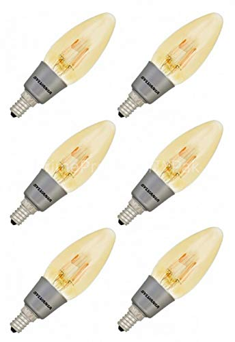 (6 Pack) Sylvania 79539 Vintage LED Light Bulb 40W Equivalent B10 Blunt Flame Candle Tip Chandelier E12 Candelabra Base Antique Edison Filament Warm Amber Glow (Not White) Indoor Outdoor Non Dimmable