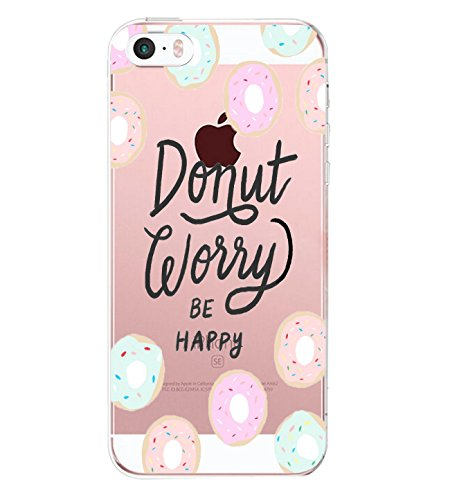 Case iPhone 5 5S 5SE TPU Leaf Watermelon Printed Silicone Shock-absorption Bumper Protective (iPhone 5, Donut) 5 Silicone Silicon Case