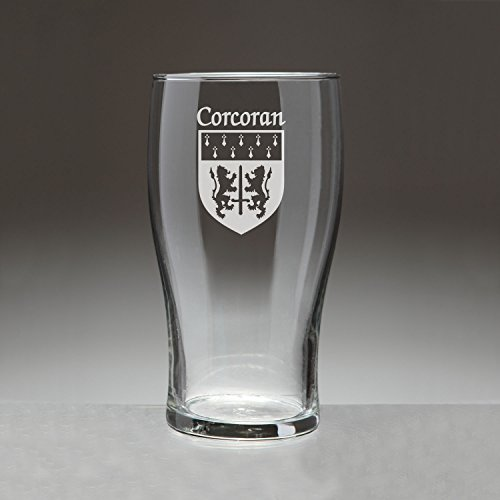 Corcoran Irish Coat of Arms Tavern Glasses - Set of 4 (Sand (Tavern Pint Glass)