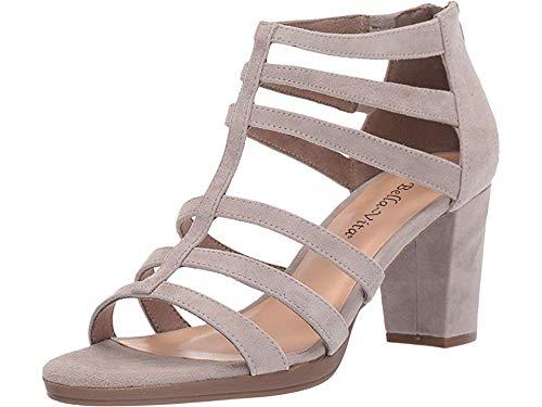 Bella Vita Women's Leah Sandal with Back Zipper Shoe, Stone Kidsuede Leather, 7.5 2W US