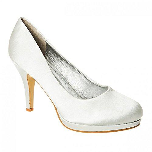 Liten Størrelse 8 3 Sølv Partiet Diamante 5 7 4 6 Prom Hæl Court Plattform Brude Sko Kvinner Satin Lav RIvax