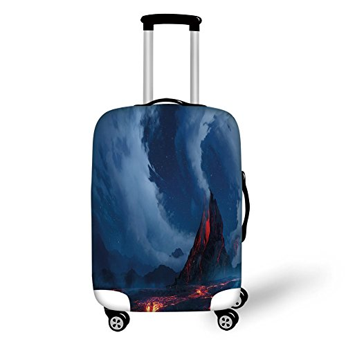 Travel Luggage Cover Suitcase Protector,Volcano,Vivid Erupting Scenery of Active Volcano Hot Lava Magma Geology Theme Nighttime Decorative,Dark Blue Red,for Travel (Magma Wheel)