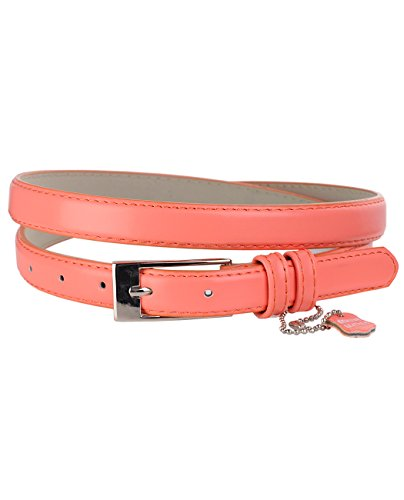 Belt Peach (NYFASHION101 Women's Classy Skinny Bonded Leather Casual Belt with Shiny Buckle (L (37