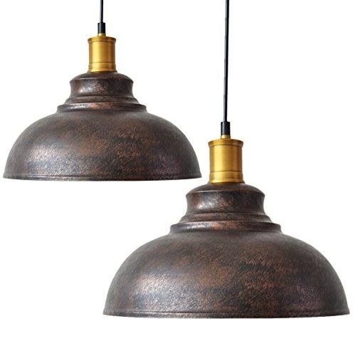 - 2pcs Vintage Pendant Light, Motent Industrial Retro Metal Dome/Bowl Shape Hanging Lamp in Brushed Finish, Antique Minimalist 1-Light Iron Wrought Drop Lighting, 11.4