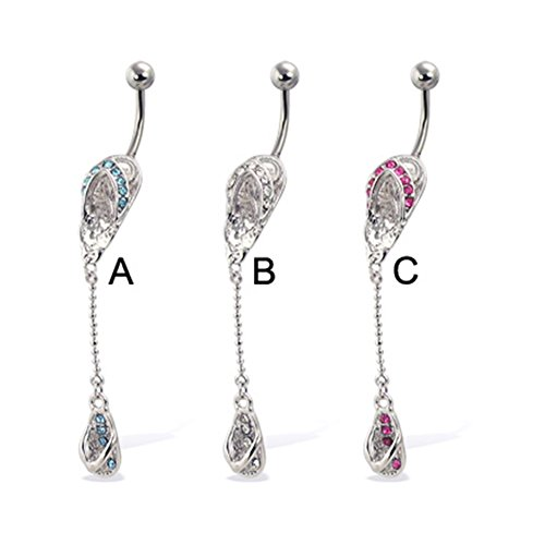 (MsPiercing Double Flip-Flop Belly Button Ring, Pink - C)