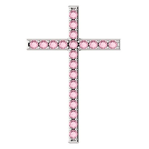 (Love One Another Baby Pink Topaz Silver Cross Pendant)