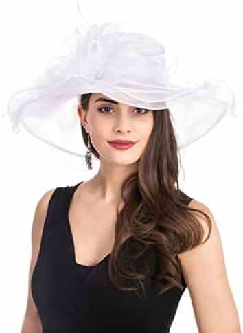 9e9f3419e90b6 SAFERIN Women s Organza Church Kentucky Derby Fascinator Bridal Tea Party Wedding  Hat