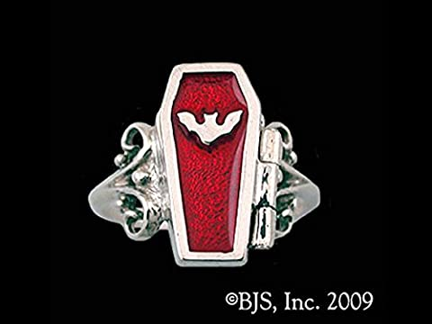 Gothic Night Bat Hidden Chamber Opening Coffin Ring with Ruby Red Enamel in Sterling Silver (Sterling Silver Coffin Ring)