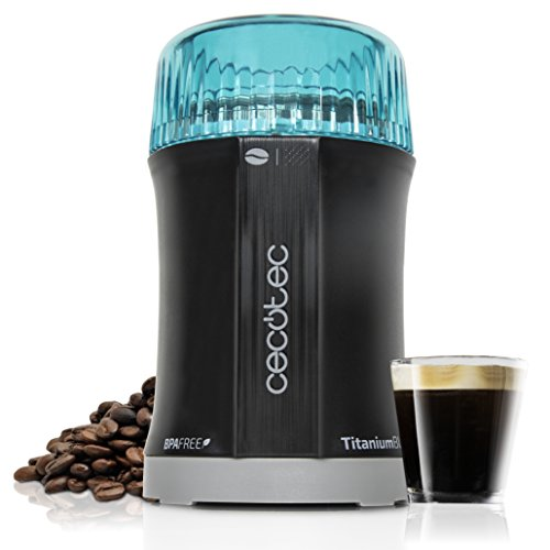 Cecotec Molinillo de Café y Especias TitanMill 200, Compacto, 200 W, Cuchillas recubiertas de Titanio, Capacidad de 50…