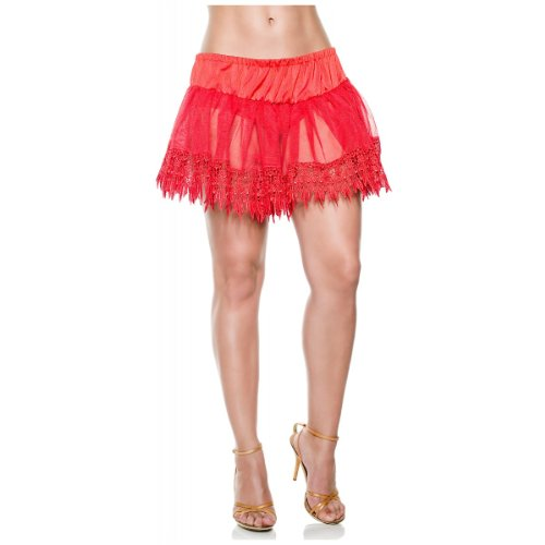 Red Teardrop Lace Petticoat (Teardrop Petticoat Adult Costume Accessory Red - One Size)