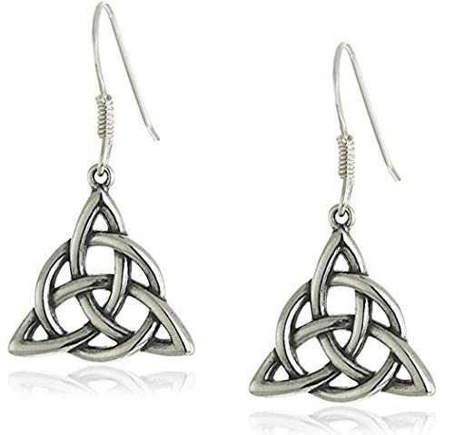 Sterling Silver Dangle Earrings, Celtic Triquetra Knot Triangle Drop Earrings ()