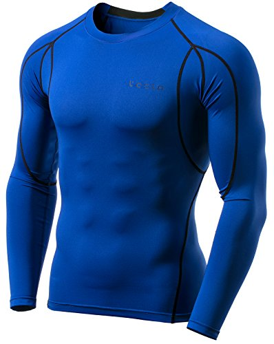 TSLA Men's Long Sleeve T-Shirt Baselayer Cool Dry Compression Top, Athletic(mud11) - Blue, X-Small ()