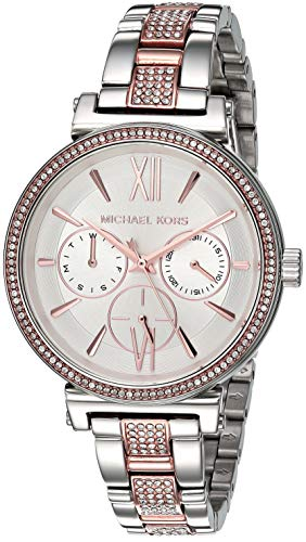 (Michael Kors Women's Sofie Quartz Watch with Stainless-Steel-Plated Strap, Two Tone/White, 14)