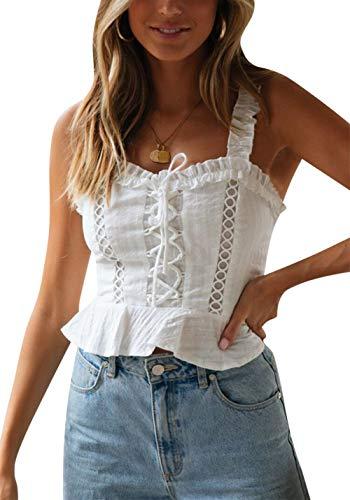 FLOYO Women's Crochet Tank Ruffle Spaghetti Strap Blackless Flounce Hem Lace up Tank Top Solid Color Summer Size M (US 4) (White) ()