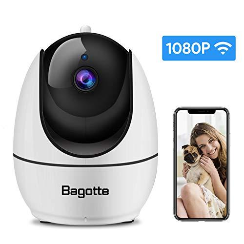 Bagotte 1080P Camara IP, Camara de Vigilancia WiFi Interior FHD con Visión Nocturna, con Ap Hotspot,Detección de Movimiento, Alarma Email, Audio de 2 ...