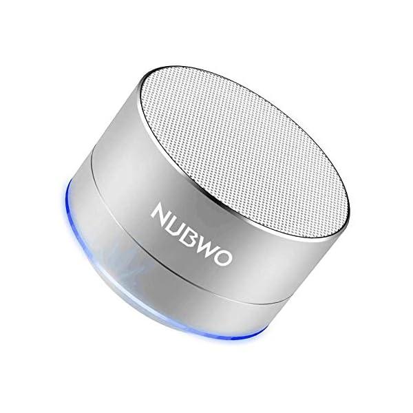 Enceinte Bluetooth, NUBWO A2 Enceinte Bluetooth Mini Portable de Voyage, Enceinte sans Fil avec des Basses Enforcées et des Appels en Mains Libres, Fonctionne avec iPhone, iPad, Samsung – Argent 1