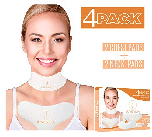 JUVENILIA 4 pack anti-wrinkle chest pads for neck and chest - chest wrinkle prevention - correct and reduce wrinkles - washable and reusable 2 chest pads and 2 neck pads - overnight wrinkle treatment ()