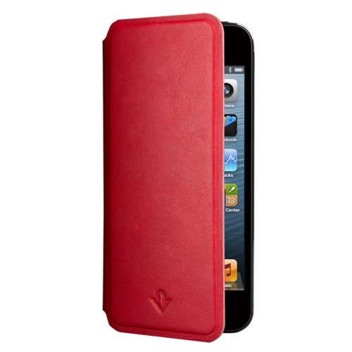 Twelve South SurfacePad for iPhone SE/5s, red | Ultra-slim luxury leather cover + display stand
