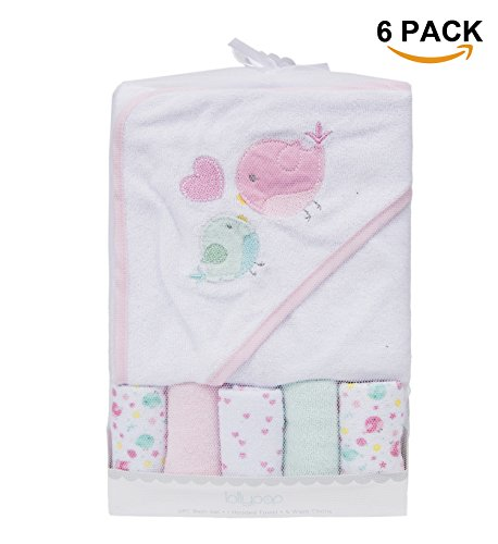 Baby Hooded Towel & 5 Washcloths Set,Super Cozy Animal Embro