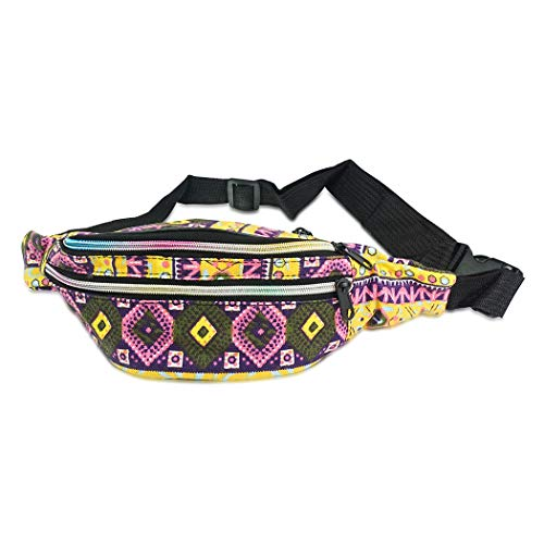 Face1st 3 Zippered Bohemian Fanny Pack Multi Strip Pattern Festival Bum Bags Lightweight Retro Travel Hiking Waist Bag (Bohemian -
