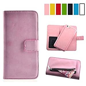 Zipper Design PU Leather Full Body Case Cute Cool Phone Cover Case with Visiting Card Slot and Wallet for iPhone 6 ,Color:Yellow Protective Smartphone Shell
