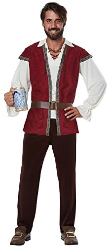 California Costumes Men's Medieval Adult Man Costume, red/Cream, -
