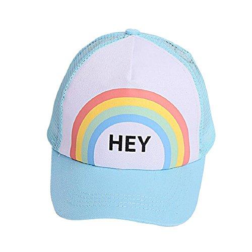 Visor Mesh Sun (MIA GARMENT Kids Hat Boys Girls Baseball Cap Rainbow Mesh Hat Summer Sun Visor Trucker Hat Blue)