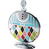 "Alessi ""Fatman"" Folding Cake Stand in 18/10 Stainless Steel Mirror Polished With Decoration, Multicolor"