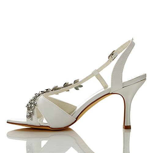 JIA JIA Women's Bridal Shoes 1415A Open Toe Mid Heel Satin Sandals Rhinestone Wedding Shoes Ivory LH38C