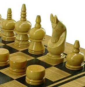 Three in One Wooden Thai Chess/Checkers/Backgammon Set - Handmade