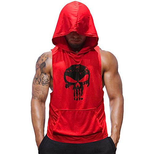 Men's Stringers Bodybuilding Tank Top Gym Sleeveless Shirt Muscle Workout Shirt (Red, 2X-Large) ()