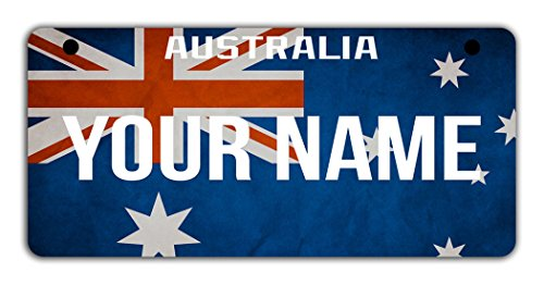 (BleuReign(TM Personalized Custom Name Country Australia Flag Motorcycle Moped Golf Cart License Plate Auto Tag)