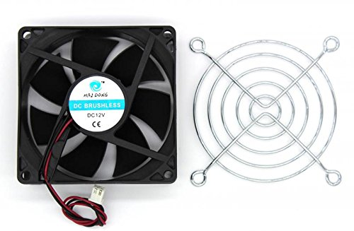 DC 12V 80mmx80mmx25mm 7 Vanes PC CPU Computer Cooling Fan w Metal Finger (Cooling Fan Guard)