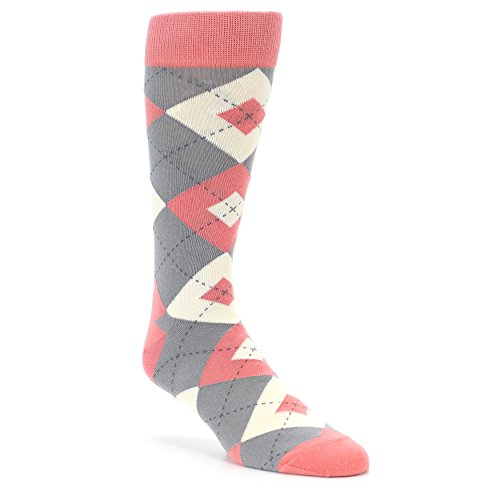Statement Sockwear Argyle Groomsmen Wedding Socks (Coral Grey)