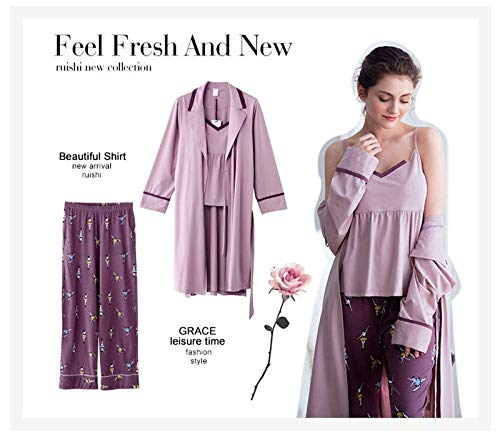 Donna Seta Set Pantaloni Tute Sleepwear Nightwear In Slip Pieces Tagliati Three Per HAOLIEQUAN Pajamas Senza Viola Fashion Summer Maniche Lingerie qfOvWxwX7