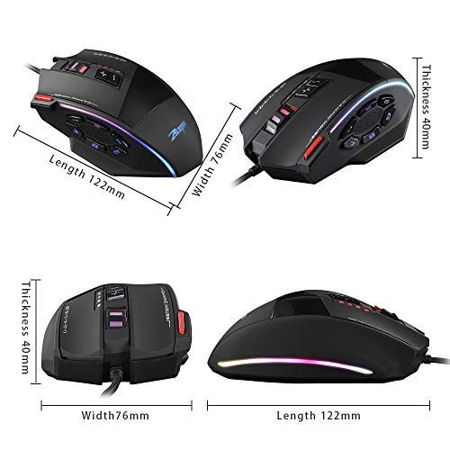 Suit for Office Home Meeting Compatible with Computer PC Laptop Desktop with Full-Key Programming Black 13 Buttons LINGLONGAN Game Ergonomic Wired Mouse Adjustable Up to 10000 DPI