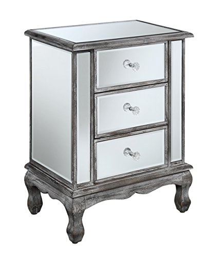 (Convenience Concepts Gold Coast Collection 3-Drawer Mirrored End Table, Weathered Gray/Mirror)
