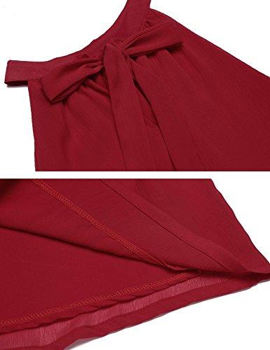 Femme Sans Tunique Uni Manche Modfine Epaule Chemise Rouge Col Chemisier Nue Casual Sexy Vin Tops Rond Soie qB5AwxC